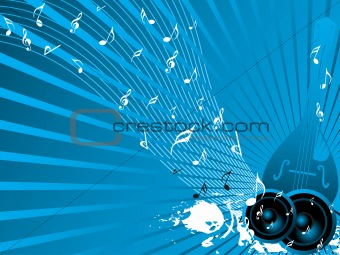 blue banner of classical instrument and grunge speaker