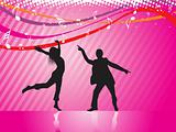 dancing couple on pink musical background, wallpaper