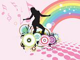 dancing female on musical rainbow background, wallpaper
