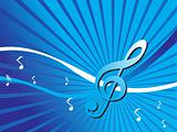 music background with different notes on the blue background, wallpaper