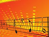 music background with different notes, orange banner