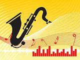 musical composition graph and instrument on yellow background, illustration