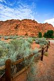 Hiking Path in Snow Canyon with Rails in the Image - Utah