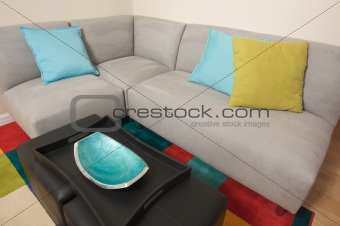 Grey Suede Couch Corner Area