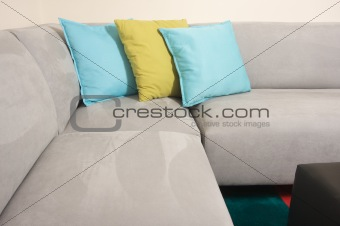 Grey Suede Couch & Pillows