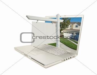 Blank Real Estate Sign & Laptop