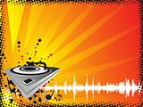turntable on music halftone background, wallpaper