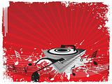 turntable on music halftone red background, wallpaper