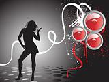 dancing female on the black backgropund, wallpaper