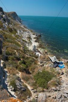 camping on the sea coast