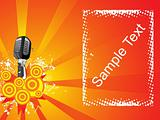 microphone and halftone background with sample text, banner