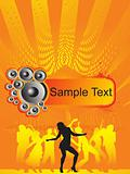 music background and dancing people, vector illustration
