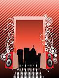 retro music city background, wallpaper