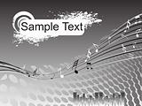 sample text on balck musical background, wallpaper