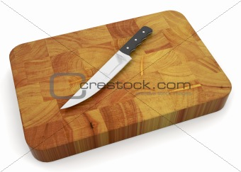 Knife on chopping board