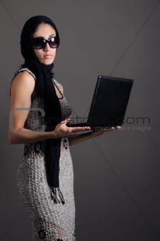 Classy woman with laptop