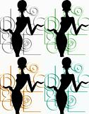 shopping girl silhouette - four colors