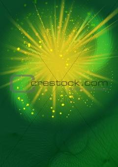 Green background yellow blast