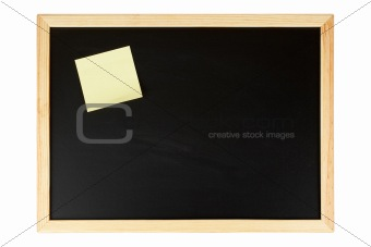 Chalkboard with yellow note
