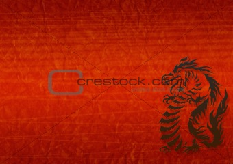 Abstract grunge background with a dragon