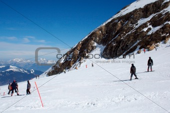 Skiers in Swiss Alps