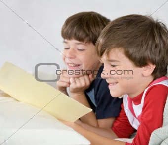 Boys Reading a Story in Bed
