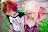 Punk Girls on a Bench