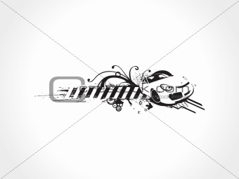 car with floral elements on white background wallpaper