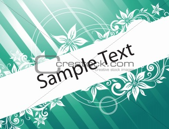 floral banner vector for sample text in green gradient