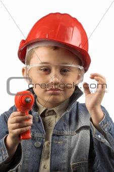 boy in a red  helmet