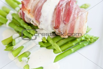 Angler fish wrapped in pancetta
