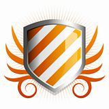 Glossy orange shield emblem