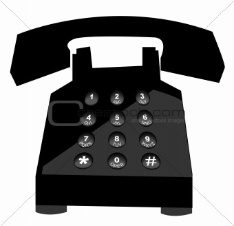 black telephone with push button numbers