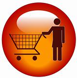 woman with shopping cart icon