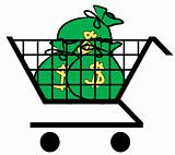 money in shopping cart