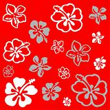 Flower pattern over red