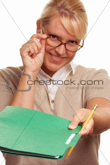 Beautiful Woman with Pencil and Folder