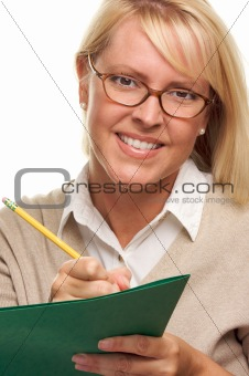 Beautiful Woman with Pencil and Folder Isolated on White.