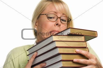 Attractive Student Struggles with Her Books