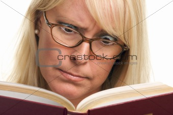 Attractive Woman Taken Back While Reading