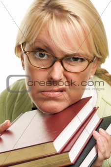 Attractive Woman with Her Books