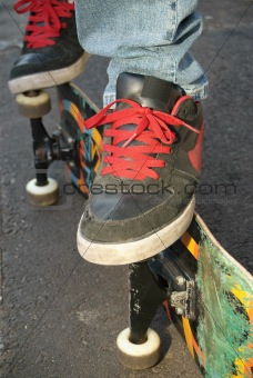 Skater shoes, feet and board