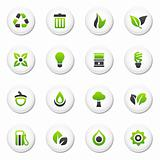 Glossy white environmental icons