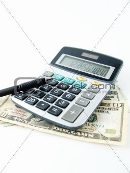 calculator pen and money