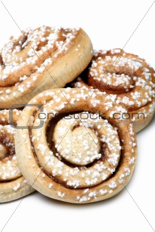 Cinnamon brown pastry isolated on white background