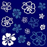 Flower pattern over blue